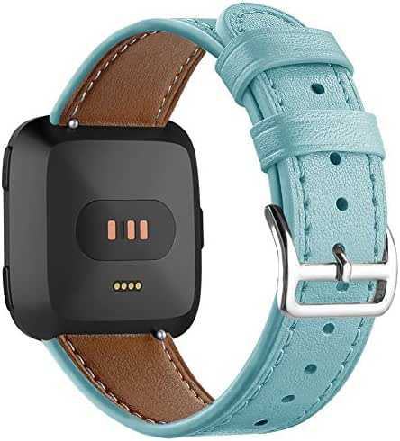 DBoer Watch Bands Compatible with Fitbit Versa band Genuine Leather Wrist Bands with Stainless Steel Buckle,Replacement Straps for Fitbit Versa Bracelet for Women&Men Small Large Sizes