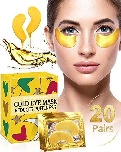 Under Eye Patches for Puffiness - iMethod 24K Gold Hydrogel Collagen Eye Mask, Under Eye Bags Treatment, Great for Reducing Dark Circles, Puffy Eyes & Fine Lines, 20 Pairs