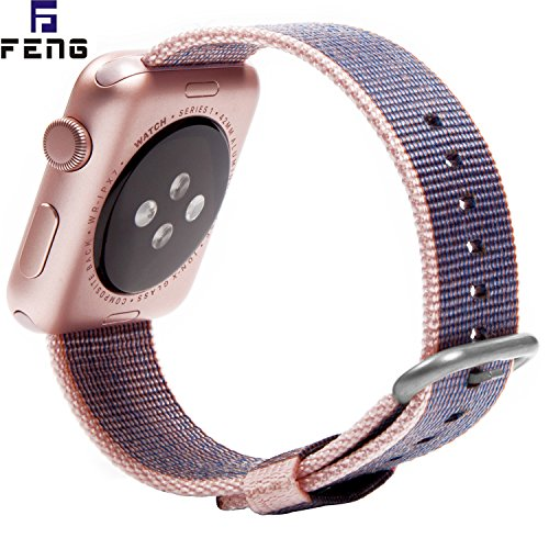 OTO Replacement Watch Strap Band ,Watch Band Strap Double Clasp Bracelet for Apple .New arrival. (Light Pink and Midnight Blue 38mm)