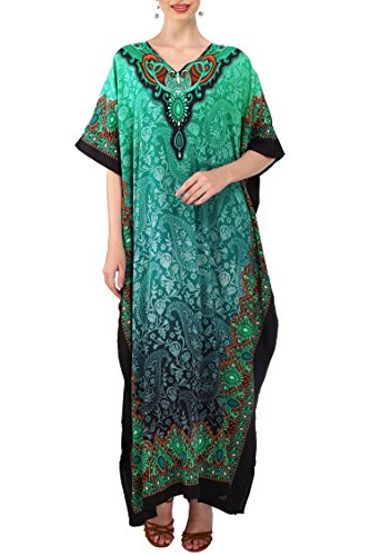 Kaftan Tunic Kimono Dress Ladies Summer Women Evening Maxi Party Plus Size 14-18 Teal ()