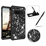 Black Shockproof Case for Samsung Galaxy S10 Plus,Herzzer Stylish 3 in 1 Glitter Heavy Duty Drop Proof Tough Rugged Impact Defender Full Body Case