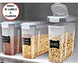 Plastic Cereal Containers 3 Pc (16.9 Cup/135.2oz) + FREE 18 Chalkboard Labels & Marker - Airtight Dry Food Keepers - Great For Cereal, Flour, Sugar & More - BPA Free Dispenser