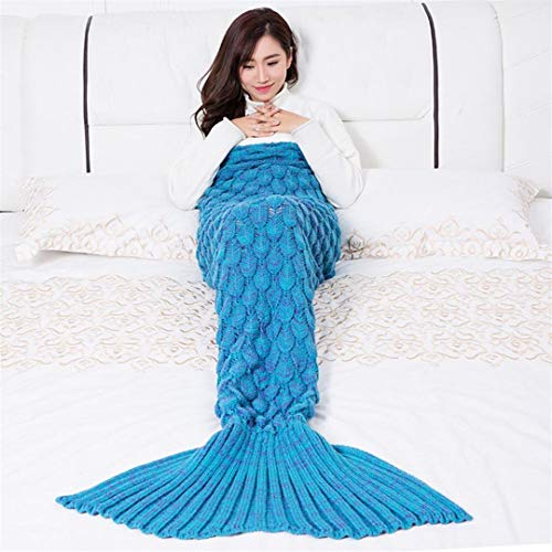 L-APZRIER Mermaid Blanket Handmade Knitted Sleeping Wrap TV Sofa Mermaid Tail Blanket Kids Adult Baby Crocheted Bag Bedding Throws Bag Lake Blue 180-90cm