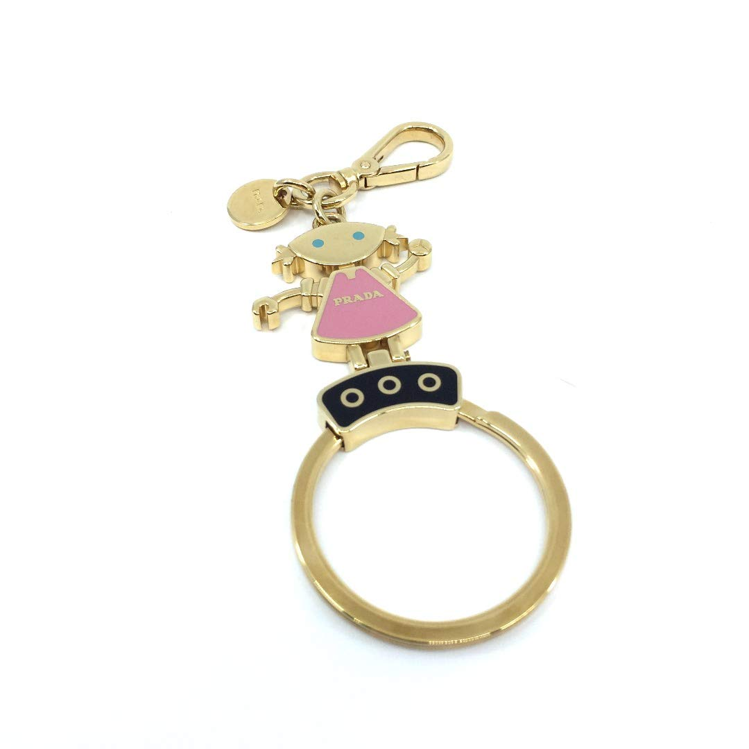 Prada Trick Enameled Pink Dress Gold Toned Metal Keychain Girl