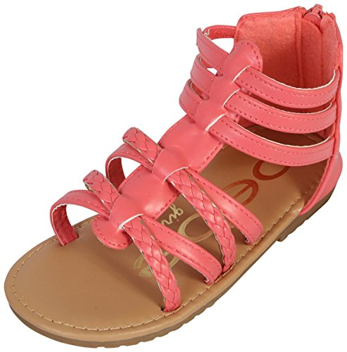 bebe Girls Gladiator Sandals with Glitter Braided Straps (Toddler) (10 M US Toddler, - Cut Coral Out