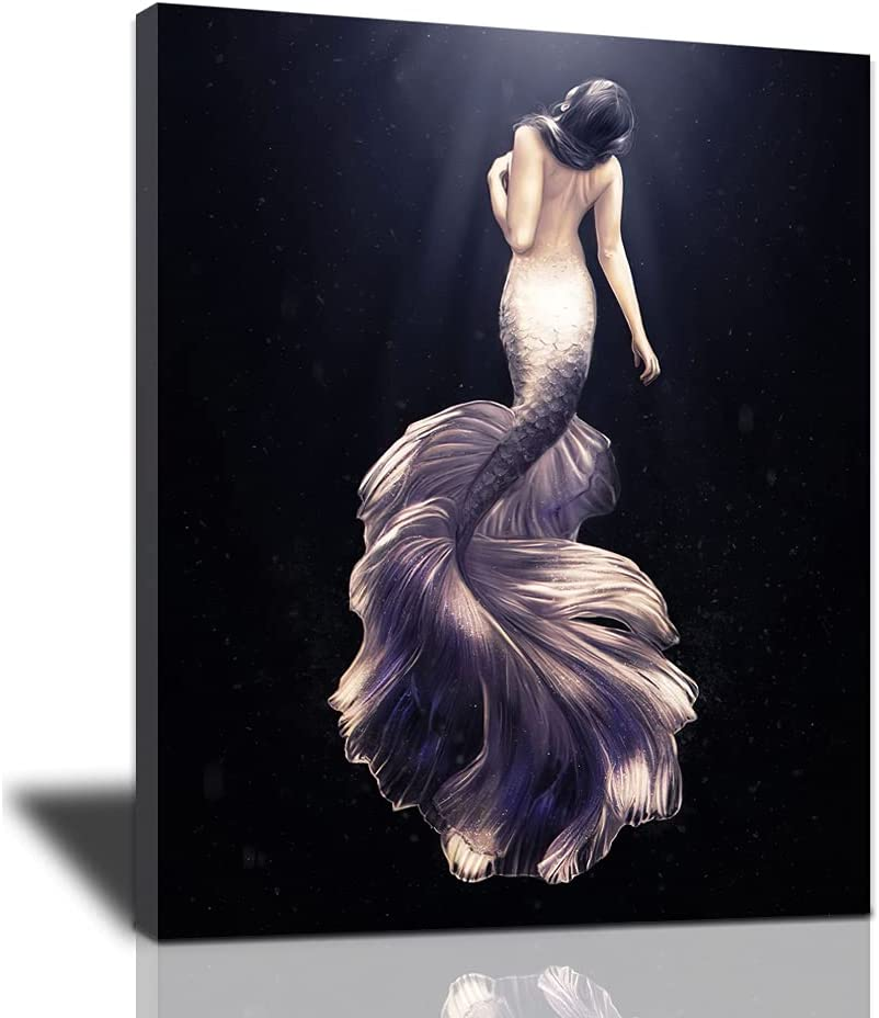 Mermaid Bathroom Decor Wall Art Modern Fairy Artwork Fantasy Black and White Mermaid Framed Wall Decorations for Girl Room Purple Mermaid Wall Pictures Beautiful Girl Poster for Bedroom Living Room