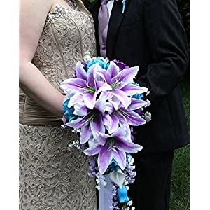 Cascade Wedding Bouquet - Turquoise Purple and Lavender Roses with White Calla Lilies 2
