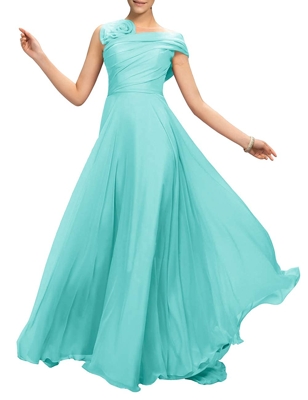 Aqua Uther Flower Long Prom Dress ALine Bridesmaid Dresses Formal Evening Party Gown