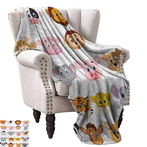 Custom Design Cozy Flannel Blanket,Kids Themed Baby Cute Animals Lions Pigs Cows Farm Safari Baby Nursery Room Image 50