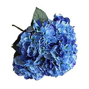 Duosuny Artificial Silk Fake 5 Heads Flower Bunch Bouquet Home Hotel Wedding Party Garden Floral Decor Hydrangea 4