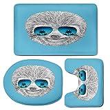 3 Piece Bath Mat Rug Set,Sloth,Bathroom Non-Slip Floor Mat,Portrait-of-Sloth-with-Mirror-Sunglasses-Exotic-Palm-Trees-Hawaiian-Beach-Hipster,Pedestal Rug + Lid Toilet Cover + Bath Mat,Grey-Blue-Aqua