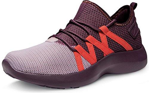 TSLA Men's Boost Running Walking Sneakers Performance Shoes, Shock Proof(x735) - Crimson Red, 9.5