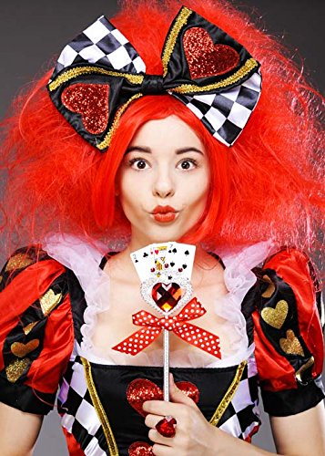Deluxe Women's Queen of Hearts Red Wig with Bow
