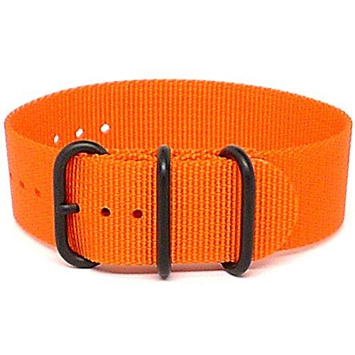 DaLuca Ballistic Nylon NATO 1 Piece Watch Strap - Orange (PVD Buckle) : 22mm