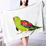 Microfiber Towels Screaming Red Winged Parrot (Aprosmictus erythropterus) in profile isolated Multipurpose, Quick Drying L63 x W31.2 INCH