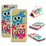 iphone6 cover card holder - iPhone 6/6S Case – Segro Flip Leather Wallet Case Stand Cover with Credit Card Holder for iPhone 6S / iPhone 6, Owls