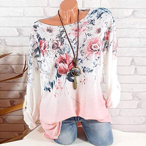 Giallo Elegante Camicia Abbigliamento Rosa large Streetwear shirt Maniche Top Con Stampa Colore Xx T Dimensione Girocollo Classica Lunghe Da Donna HOZqPv