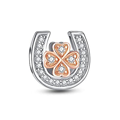 Glamulet Clear Crystal Rose Gold Leaf Clover in Horseshoe Charms 925 Sterling Silver Beads from Glamulet
