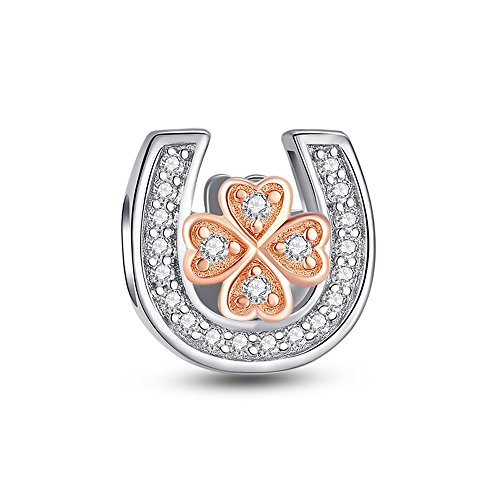 Glamulet Clear Crystal Rose Gold Leaf Clover in Horseshoe Charms 925 Sterling Silver Beads (Clear Crystal Horseshoe Swarovski Design)