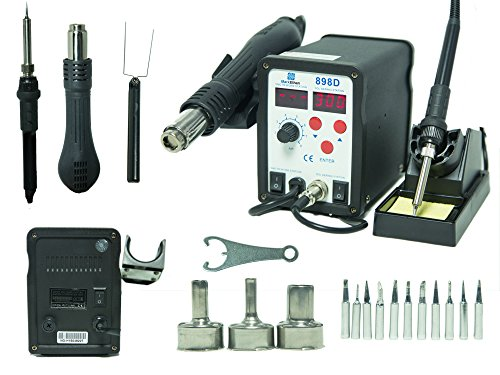 2-in-1 SMD Hot Air Rework Station & Soldering Iron w/ 11 Tips, 3 Nozzles LED Screen Professional 898D Yihua
