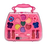 Prevently New Cute Portable Princess Girl's Pretend Play Toy Deluxe Makeup Palette Set NON TOXIC For Kids (Pink)