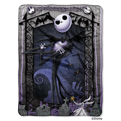 "(Disney Nightmare Before Christmas, ""Jack's Graveyard"" 46 60-inch Micro Raschel Throw – by The Northwest)"