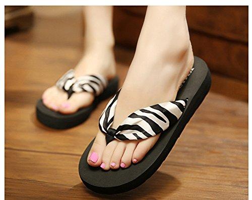 Wedge Noir Plage Chaussures Tongs Accueil Pantoufles Sandale Sandales forme Butterme Floral D'été Femmes Bohème Plate F8Axp8