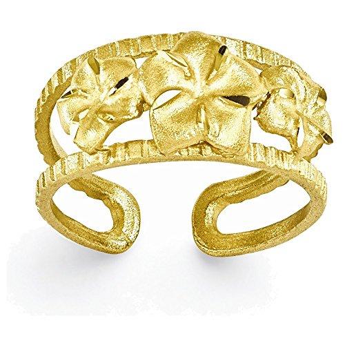 14k D/C Plumeria Toe Ring by Jewelry Adviser Toe Rings
