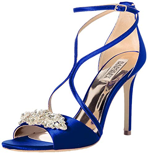 Badgley Mischka Women's Vanessa Heeled Sandal, Cobalt Satin, 9 M US