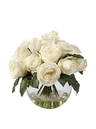 Cut Rose Illusion (Jane Seymour Botanicals JSWP20403N-WH Roses with Bubble Bowl Roses with Bubble Bowl,White)