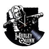 Harley Quinn Suicide Squad Vinyl Record Wall Clock - Living room or Bedroom wall decor - Gift ideas for friends, boys, men, women, girls – Movie Unique Art Design