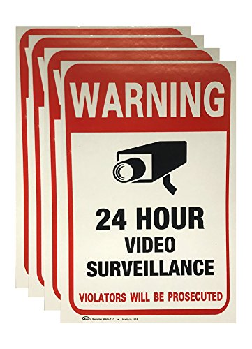 WARNING 24 Hour Video Surveillance Sticker for Indoor Outdoor Use (4 sheets)