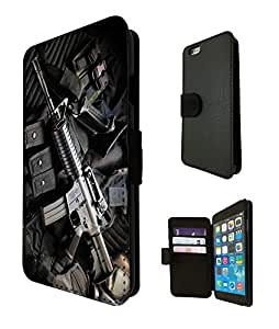 909 - Army equipment gun rifle M16 funky Design iphone 6 6S 4.7'' Fashion Trend TPU Leather Flip Case Full Case Flip Credit Card TPU Leather Purse Pouch Defender Stand Cover