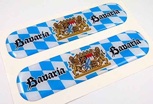 Car Chrome Decals Bavaria Germany Flag Domed Decal Emblem Flexible Sticker 5