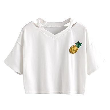 felpa corta bianca con ananas