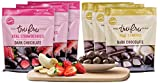 Tru Fru Dark Chocolate Dipped Freeze-Dried Fruit, Tropical Pack, 6-Pack Case (3-Strawberry packs and 3-Bananna packs)