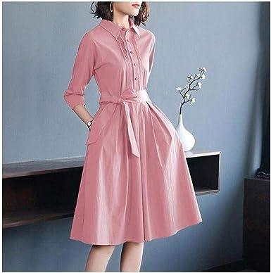 HONGHUIKE Camisa Rosa Falda Cintura A-Line Big Swing Falda ...