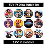 80's TV BUTTONS (set #4) pins television 1980's eighties new!