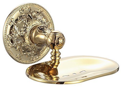 Soap Dish Holder Exquisite Carved Bathroom Accessories Titanium Gold APL-6307 by APL by APL