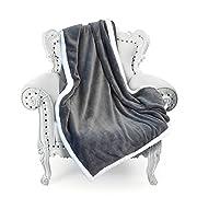 "Tirrinia Super Soft Velvet Plush Throw Blanket 50""x 70"", Reversible Fuzzy Solid Blanket, All Season Bed Throw TV Blanket Grey"