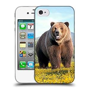 Super Galaxy Coque de Protection TPU Silicone Case pour // V00000779 Patrón del oso Animal // Apple iPhone 4 4S 4G