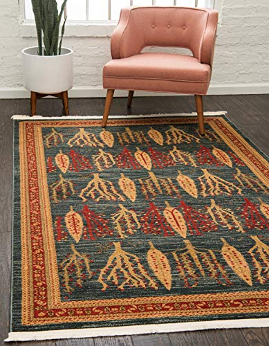 Unique Loom Fars Collection Tribal Modern Casual Blue Area Rug 5 0 x 8 0