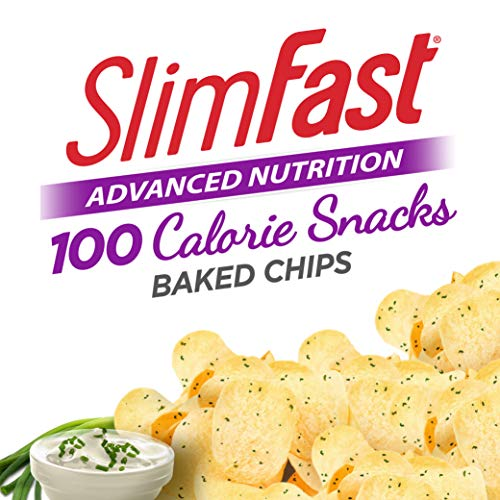 SlimFast Advanced Nutrition 100 Calorie Snacks, Baked Crisps, Sour Cream & Onion, 1 oz. Bag (Pack of 5)