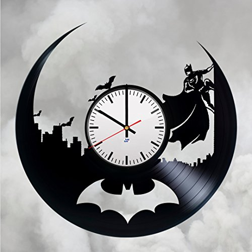 Modern Vinyl Record Wall Clock With Batman Silhouette Design - Unique Bedroom or Nursery Wall Decor - Original Gift Idea For His and Her - Exclusive Comics Hero Fan Art -