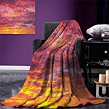 Anniutwo Sky Blanket Sunset Photography Clouded Weather Tropical Scenic Hawaii Tranquility Digital Printing Blanket 60''x36'' Coral Dried Rose Orange
