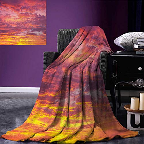 Anniutwo Sky Blanket Sunset Photography Clouded Weather Tropical Scenic Hawaii Tranquility Digital Printing Blanket 60''x36'' Coral Dried Rose Orange by Anniutwo