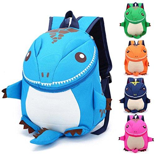 Los hombros de los niños mochila de dibujos animados estilo monstruo bolsa de viaje mochila Dark Blue