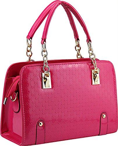Ladies Stylish Hot Pink Patent Purse-Unique Handbags Shoulder Bags For Women -Womens ()