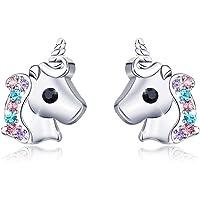 Silver Unicorn Earrings for Girls Hypoallergenic Cute CZ Unicorn Stud Earrings Jewelry Birthday Gift