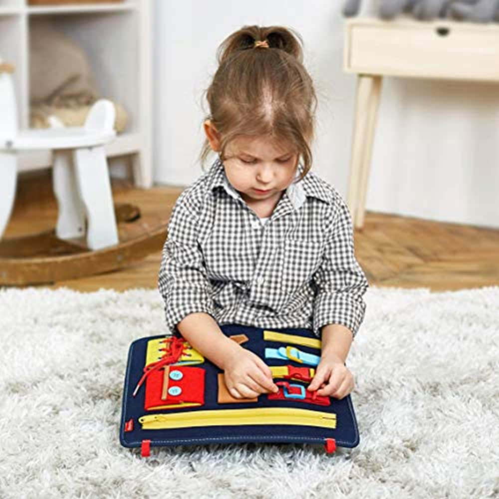 Toddler Busy Board,Baby Basic Skills Activity Board,Montessori Sensory Board,Preschool  Educational Learning Toys,Toddler Travel Toys,Fine Motor and Learn to Dress  for 1 2 3 4 5 6 Years Old Toddlers Toys & Games